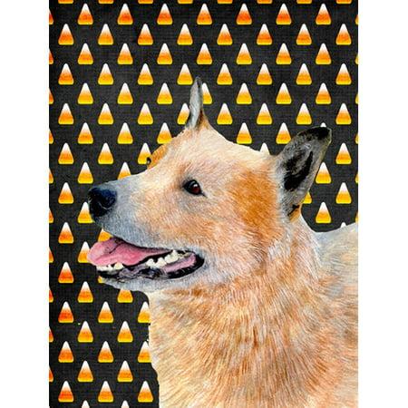 Caroline's Treasures Australian Cattle Dog Candy Corn Halloween Portrait 2-Sided Garden Flag