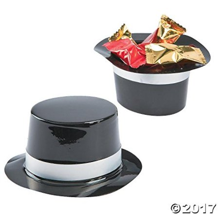 Dozen Mini Black Plastic Top Hat Birthday Party Favor -