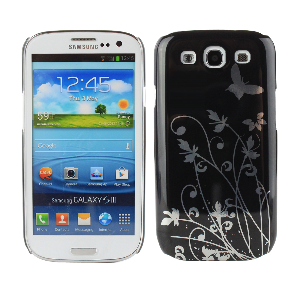 Fosmon Butterfly Hard Protector Case Cover for Samsung Galaxy S III S3 - Black