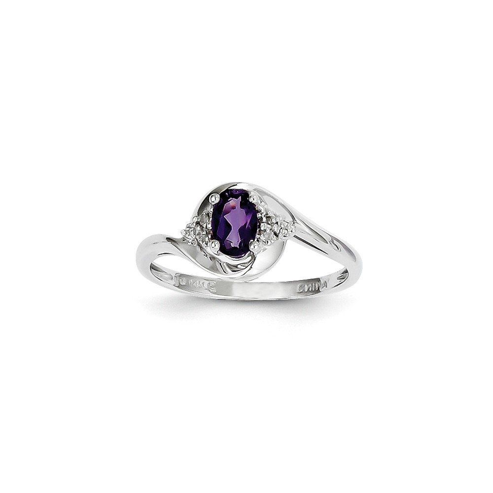 14K White Gold Four Prong Set Oval Figure Amethyst and Diamond Ring by