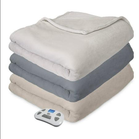 Serta Comfort Plush Electric Heated Blanket with programable digital controller, Twin, Beige (Serta Queen Heated Blanket)