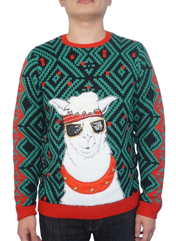 Holiday Men's Jingle Bell Llama Ugly Christmas Sweater, Up to size 2XL