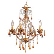 """AF Lighting 4940-4H Elements Series """"Josephine"""" Mini Chandelier with Amber Drop"""