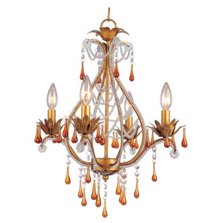 "Image of AF Lighting 4940-4H Elements Series ""Josephine"" Mini Chandelier with Amber Drop"