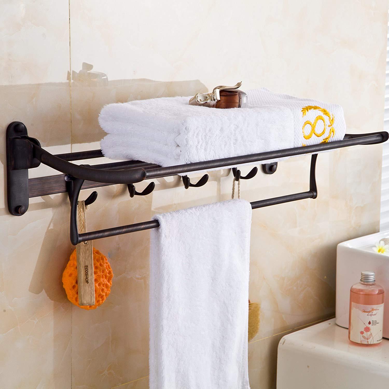 Rozin Bathroom Folding Towel Shelf Holder Wall Mounted Towel Rack with Hooks Oil Rub Bronze Rozinsanitary R8960002