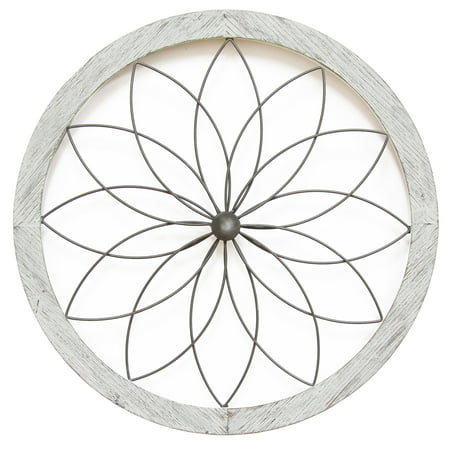 Stratton Home Decor Flower Metal and Wood Art Deco Wall Decor