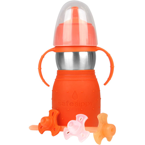 The Safe Sippy2 Stainless-Steel 2-in-1 Sippy to Straw Bottle, Orange