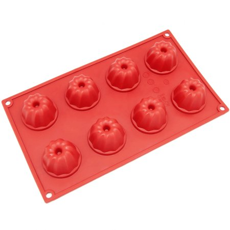Freshware 8-Cavity Mini Coffe Cake Silicone Mold for Small Bundt, Muffin, Cupcake, Pudding and Jello, SM-109RD