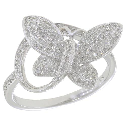 KC Jewelry 10k White Gold 1/3ct TDW Diamond Butterfly Ring
