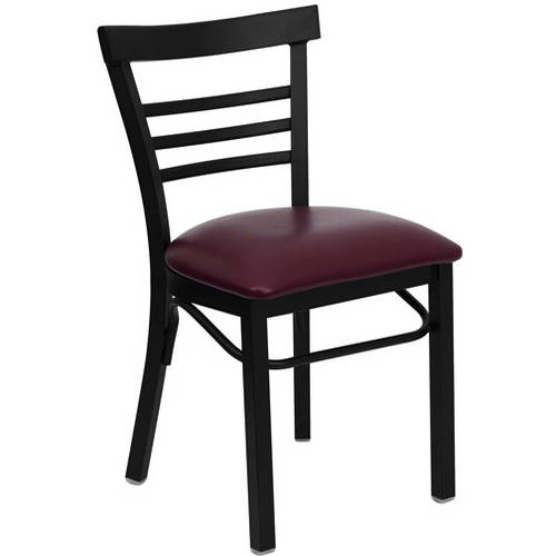 Ladder Back Chairs - Set of 2, Black Metal / Burgundy Vinyl Seat