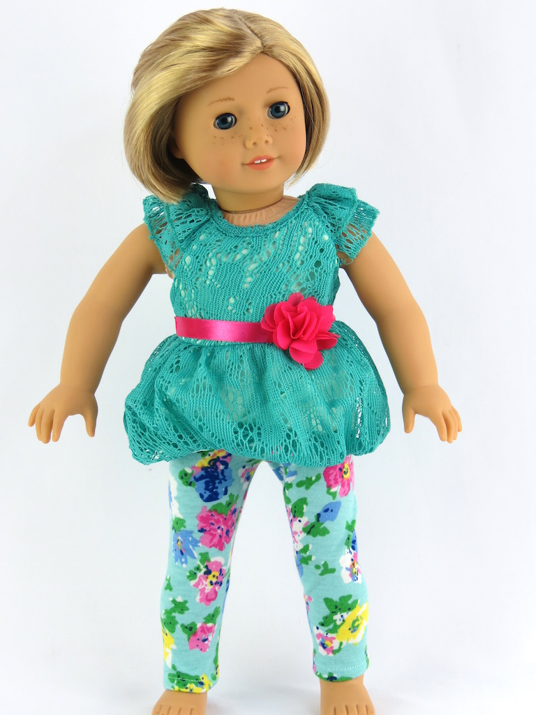 """Teal Bubble Blouse and Leggings Fits 18"""" American Girl Dolls, Madame Alexander, Our... by"""