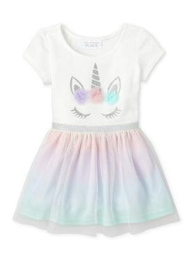 The Children's Place Baby & Toddler Girl Short Sleeve Unicorn Rainbow Mesh Dress