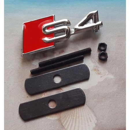 Red Chrome Metal S4 Logo Emblem Head Fro Grille Clip Badge 2010-2017 Audi S4 A4 Bow Tie Grille Emblem