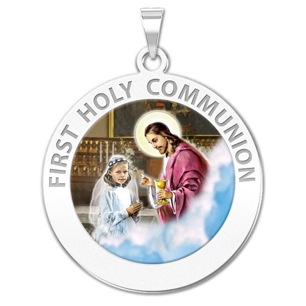 First Holy Communion Religious Medal (for a Girl) Color - 1 Inch Size of a Quarter -Sterling Silver
