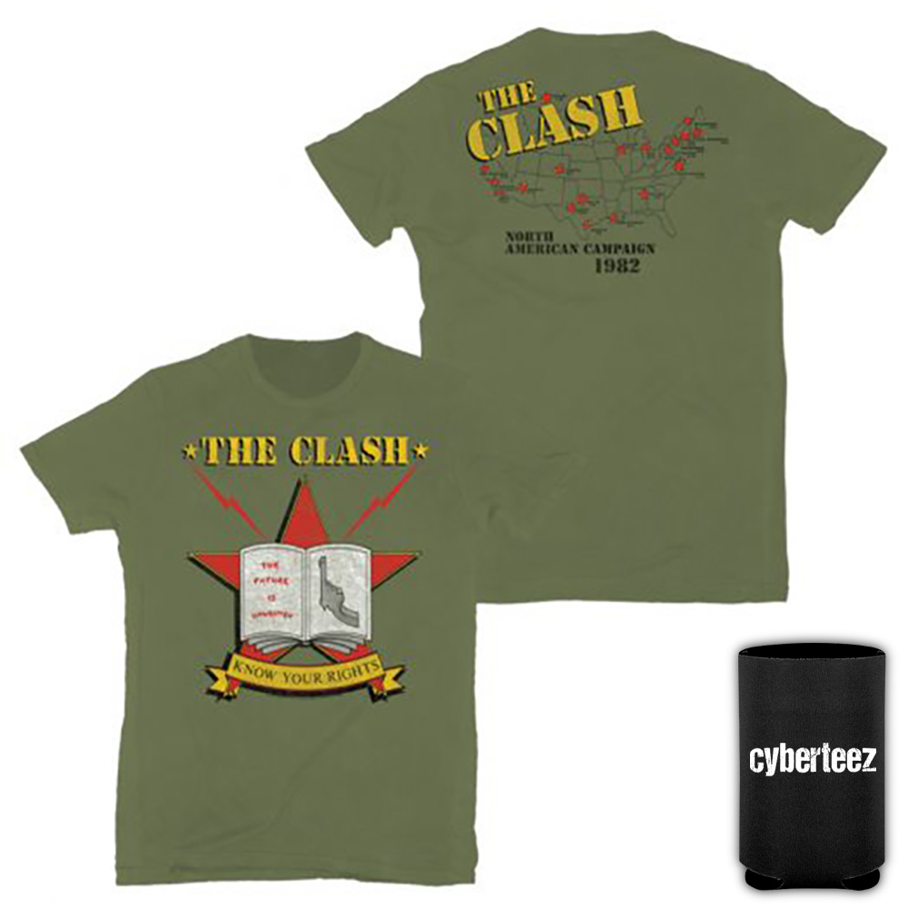 The Clash Know Your Rights US Tour 1982 Army Green T-Shirt + Coolie (S)