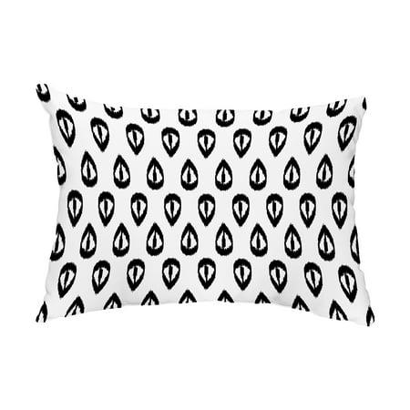 Ikat Tears 14x20 Inch Black Decorative Ikat Outdoor Throw Pillow
