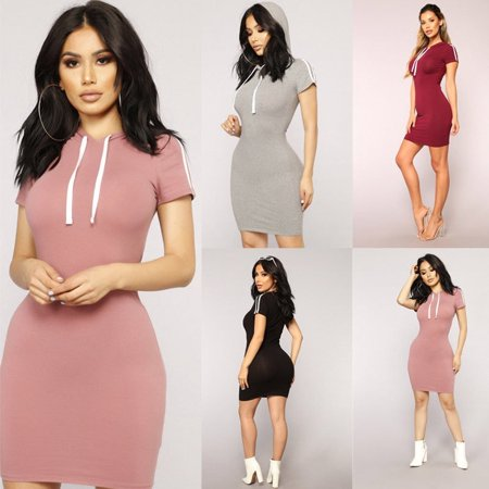 New Fashion Women Hooded Sweatshirt Short Sleeve Sweater Hoodie Jumper Bodycon Mini Dress