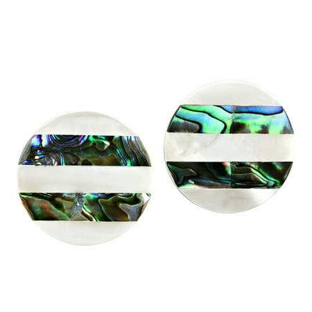 Iridescent Stripes White Kabibe and Abalone Shell Round Stud -