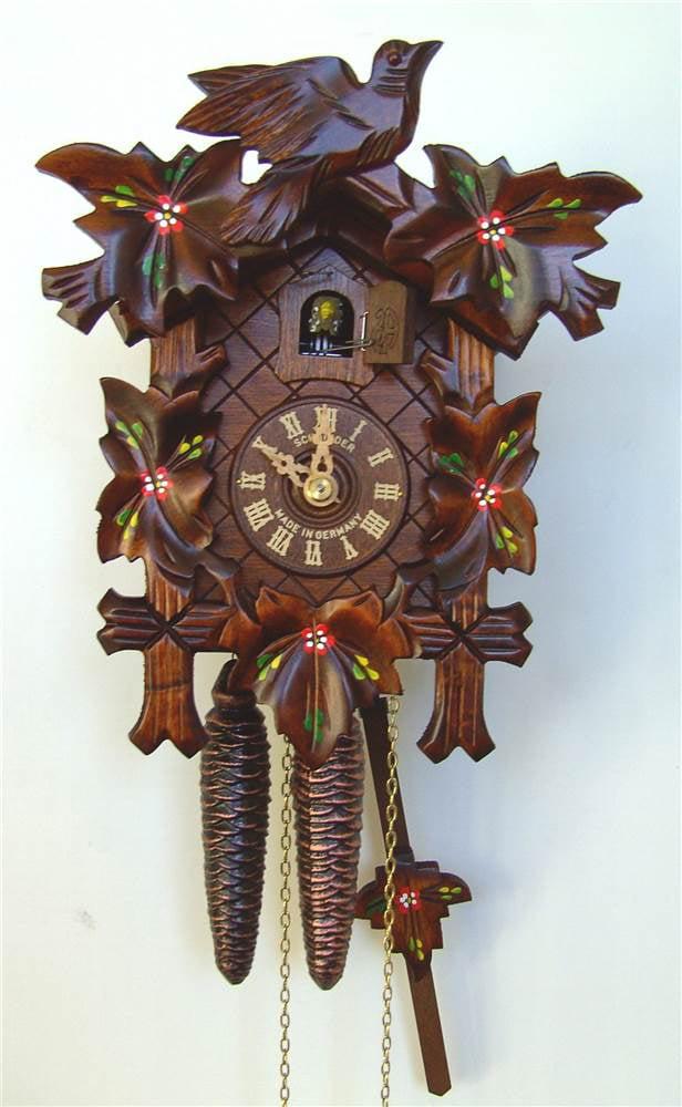 Hand Painted Flowers Cuckoo Clock by Schneider Cuckoo Clocks