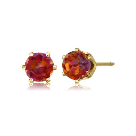 1.10 Ct Round Cut Gold Plated 5mm Mystic Twilight Topaz Stud Earrings - image 4 of 4