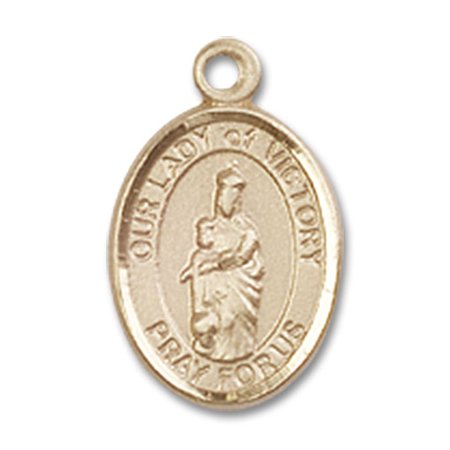 14kt Yellow Gold Our Lady of Victory Medal 1/2 x 1/4 inches