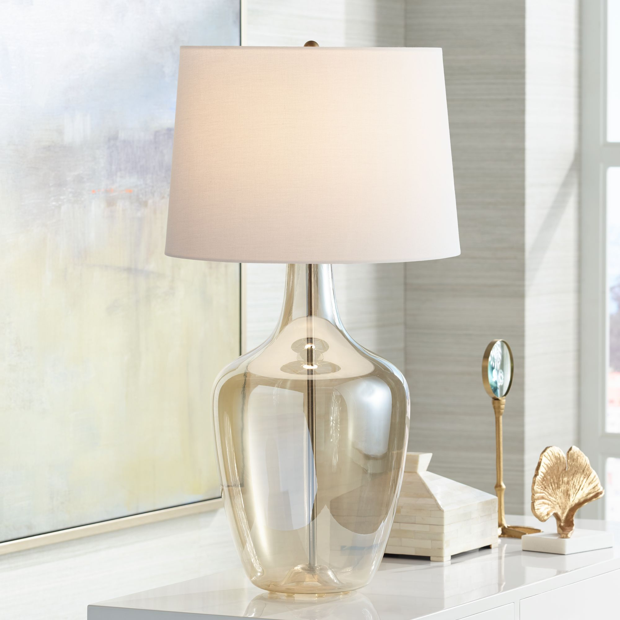 Possini Euro Design Modern Table Lamp Clear Champagne Glass Jar Off White Drum Shade for Living Room Family Bedroom Bedside Office