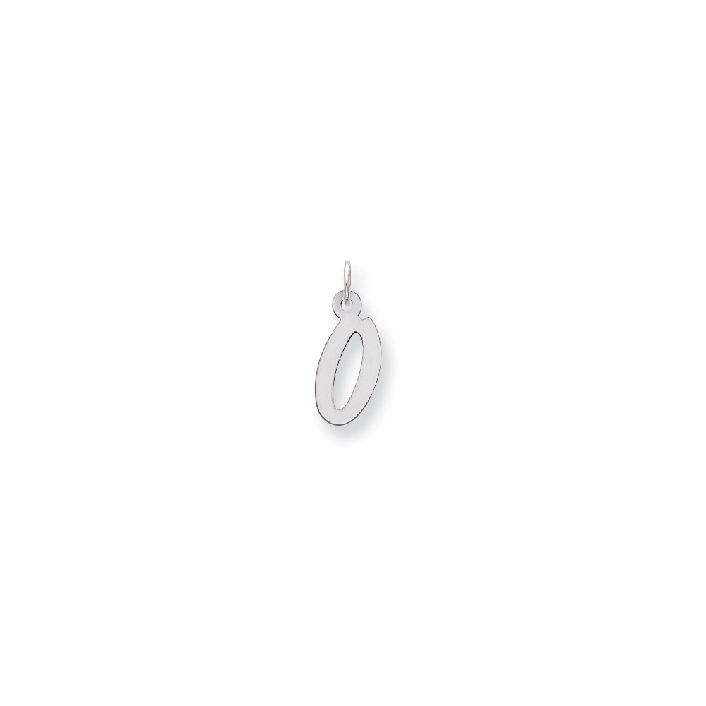 Sterling Silver Medium Initial O Charm (0.8in long x 0.4in wide)