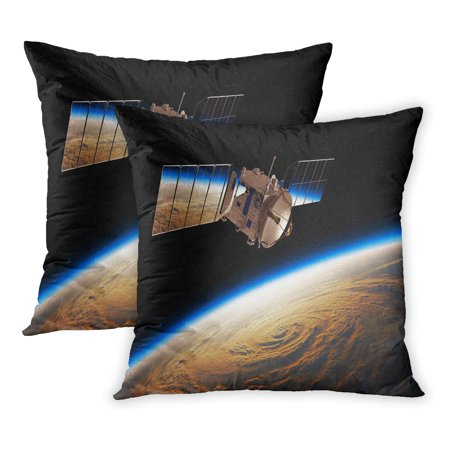 ECCOT Red Flare Reflection of Planet Earth in Solar Panels Space Satellite 3D Orbit Antenna Astronaut Battery PillowCase Pillow Cover 18x18 inch Set of 2