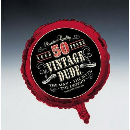 (Price/Case)Creative Converting 041567 Vintage Dude 50th Metallic Balloon (Case of 10) - Vintage Dude Party Supplies