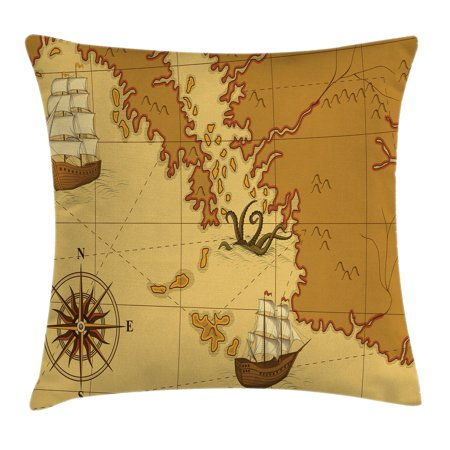Ship Map - Kraken Decor Throw Pillow Cushion Cover, Old Map with Compass and Ship Continent and Kraken Figure Artsy Print, Decorative Square Accent Pillow Case, 18 X 18 Inches, Light Brown Yellow, by Ambesonne