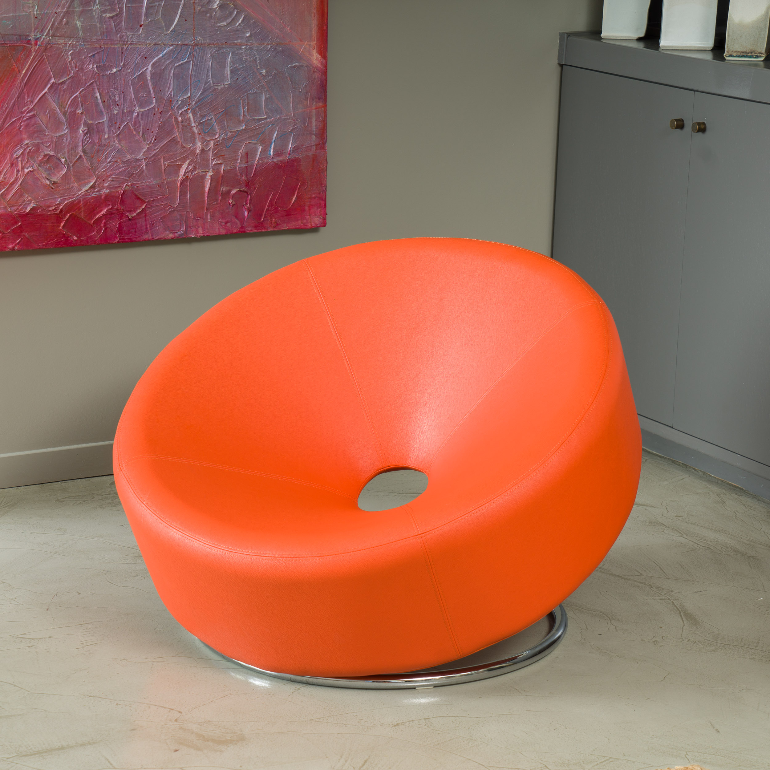 Noble House Carney Round Accent Chair, Orange