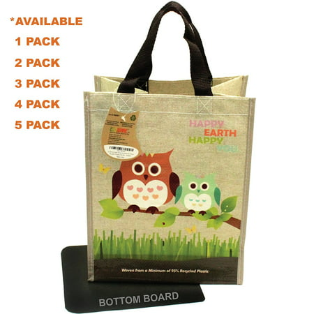 EcoJeannie® 1 Pack Super Strong Laminated Mini Woven Reusable Shopping Tote Bag (Avail: Set of 1,2,3,4,5 Bags), Free Standing, Recycled Plastic w/ Bottom Board & Reinforced Nylon Handle