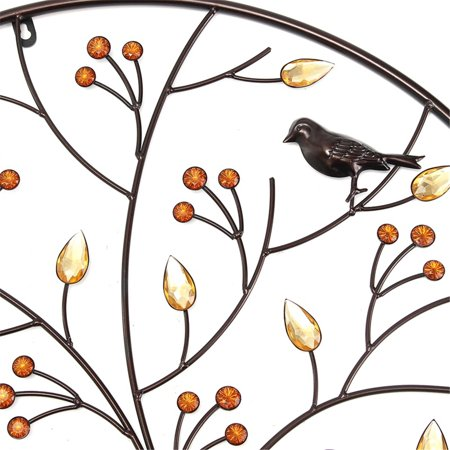 Birds Tree Iron Sculpture Ornament Home Room Wall Hanging Decoration 24'' x 24'' - image 7 de 8