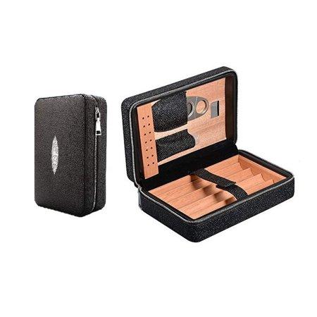 Travel Cigar Case, Portable Cigar Humidor with Cutter, Cedar Wood Leather Cigar Box with Humidifier Black Leather Cigar Box