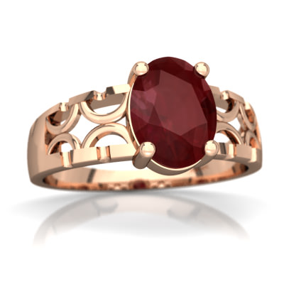 Ruby Art Deco Ring in 14K Rose Gold by