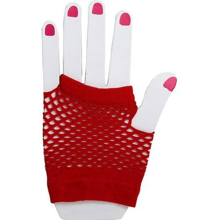 Adult's  Red Fingerless Fishnet Gloves Burlesque Costume Accessory