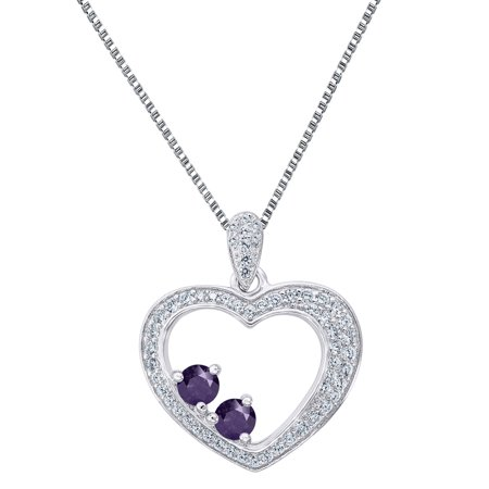 2 Solitaire Purple Cz Heart Pendant Sterling 925 Silver Forever Us Free Necklace