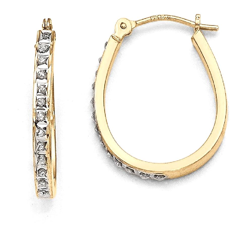 ICE CARATS 14kt Yellow Gold Diamond Fascination Oval Hinged Hoop Earrings Ear Hoops Set Fine Jewelry Ideal Gifts For... by IceCarats Designer Jewelry Gift USA