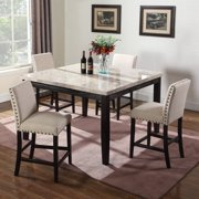 Best Master Furniture Celeste Square 5 Piece Faux Marble Counter Height Dining Set