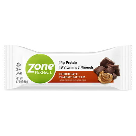ZonePerfect Protein Bars, Chocolate Peanut Butter, 14g of Protein, Nutrition Bars With Vitamins & Minerals, Great Taste Guaranteed, 1 Bar