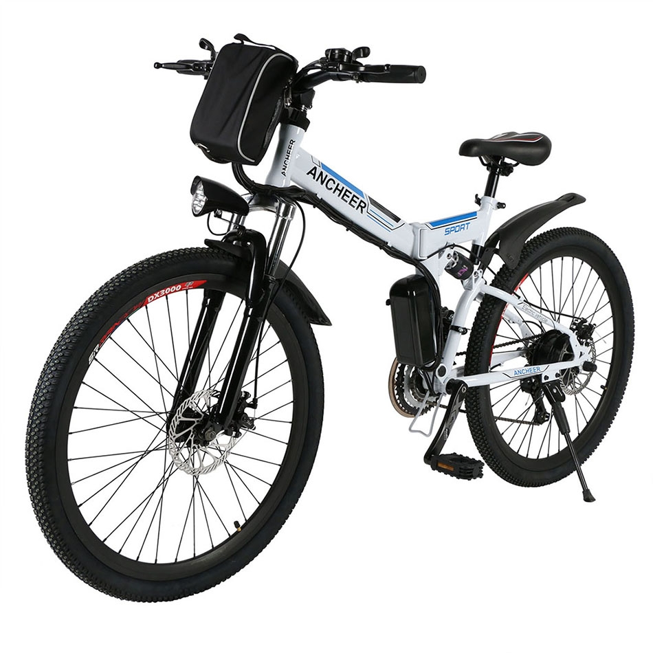 Folding 36V Electric Mountain Bike with 26 Inch Wheel, Removable Lithium-Ion Battery WhiteBYE