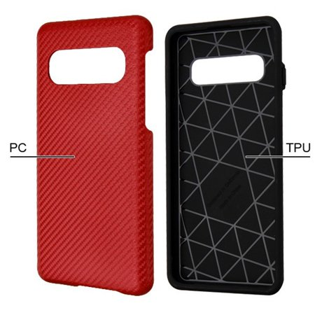 Samsung Galaxy S10 Case, by Insten Carbon Fiber Dual Layer [Shock Absorbing] Hybrid Hard Plastic/Soft TPU Rubber Case Cover For Samsung Galaxy S10, Red/Black - image 1 of 5
