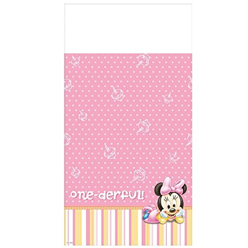 """Minnie Mouse One-derful Plastic Table Cover 54"""" x 96"""""""
