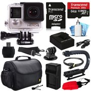 GoPro HERO4 Hero 4 Silver Edition 4K Action Camera Camcorder with 64GB MicroSD Card, Battery, Charger, Large Case, Stabilizer Handle Grip, HDMI, MicroSD Reader, Dust Cleaning Care Kit (CHDHY-401)
