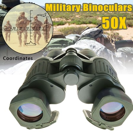 Military Army Hunting Outdoor 50X BK7 168ftat/1000yds High Definition Zoom Binoculars Telescopes Low Light Night Vision UV Protection with Coordinate
