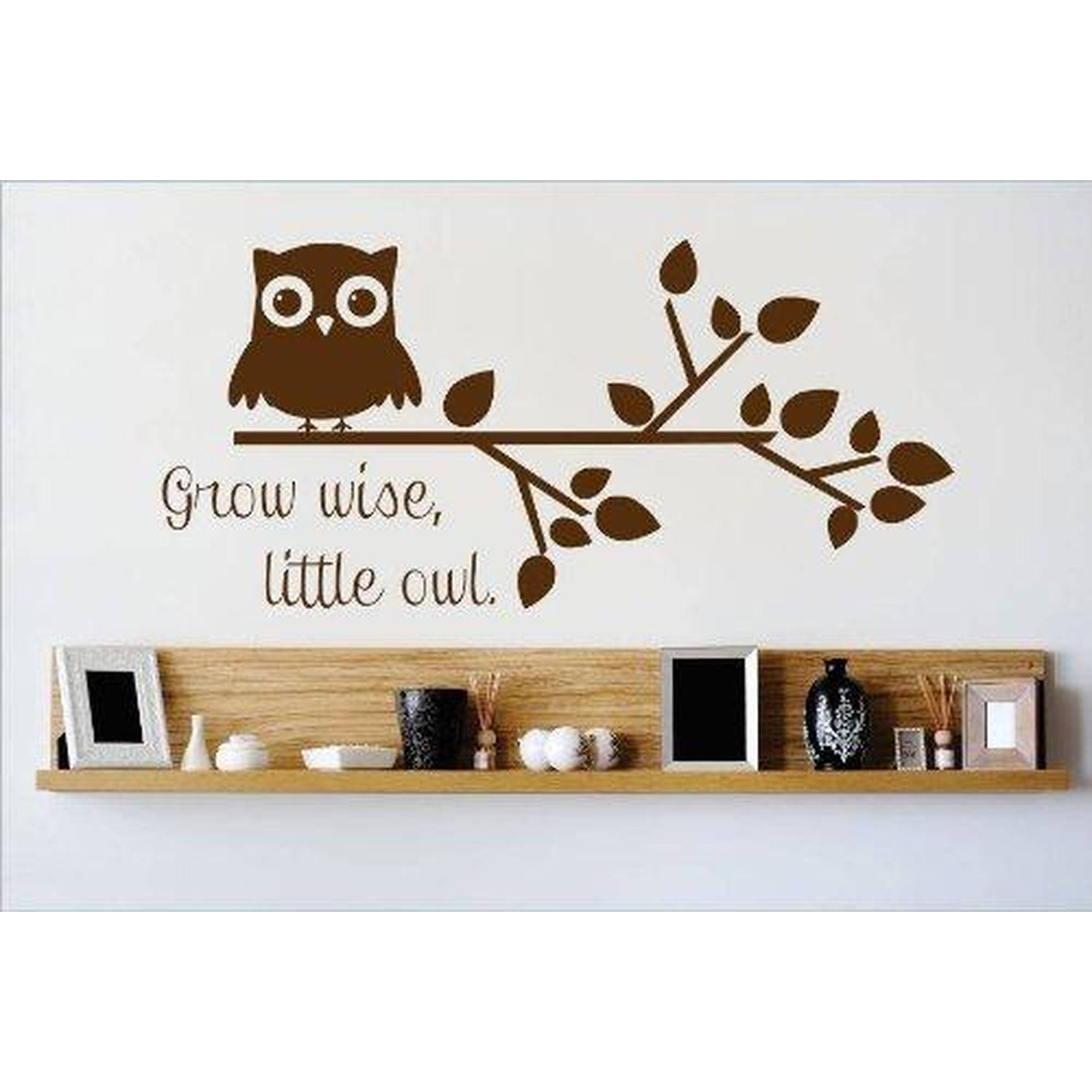 "Owl On A tree Branch Grow Wise Little Owl Picture Art Vinyl Wall Decal, 10"" x 20"", Brown"
