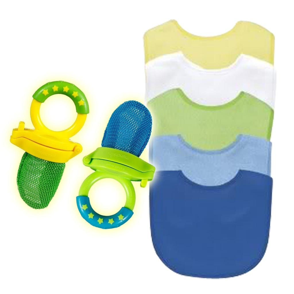 Green Sprouts Waterproof Absorbent Terry Bib 5 Pack with Munchkin Fresh Food Feeders, Boy