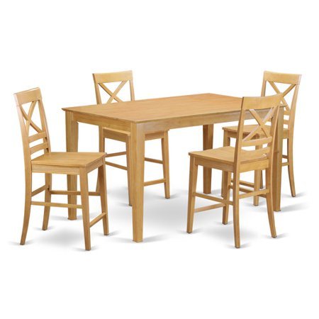 CAQU5H-OAK-W 5-Piece counter height pub set - high table and 4 bar stools. ()