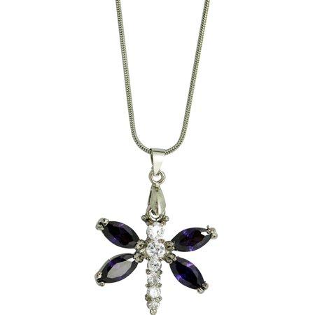 Purple Cut Rhinestone Dragonfly Pendant Fashion Necklace