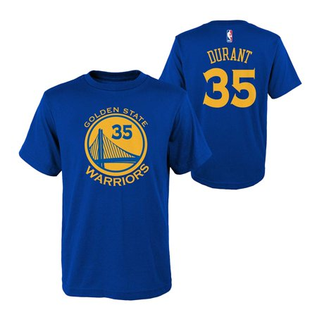 Outerstuff Golden State Warriors NBA Kevin Durant Youth Flat Basic Name & Number Tee (Royal) L (Kevin Durant Party Supplies)